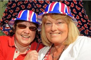 Best friends Jane Bryant, left, and Linda Trewern have fun in the sun